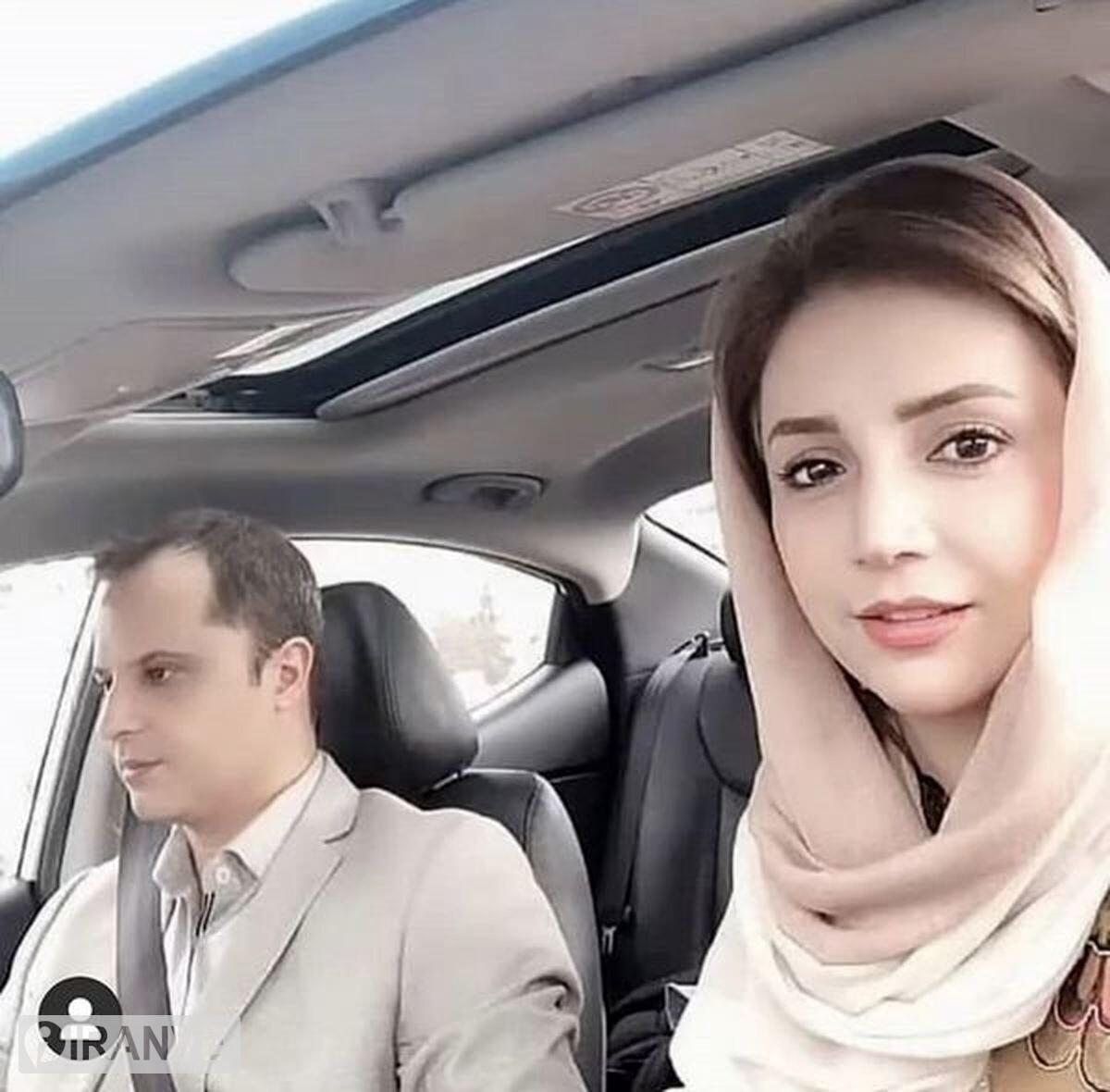 عکس شبنم قلی خانی با شوهرش داخل ماشین
